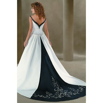 White and navy blue bridesmaid dresses