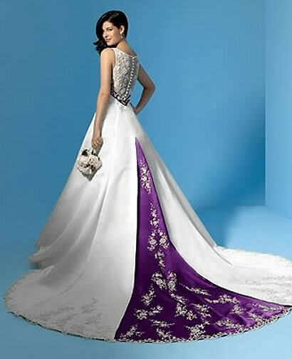 Purple and white wedding dresses Photo - 1