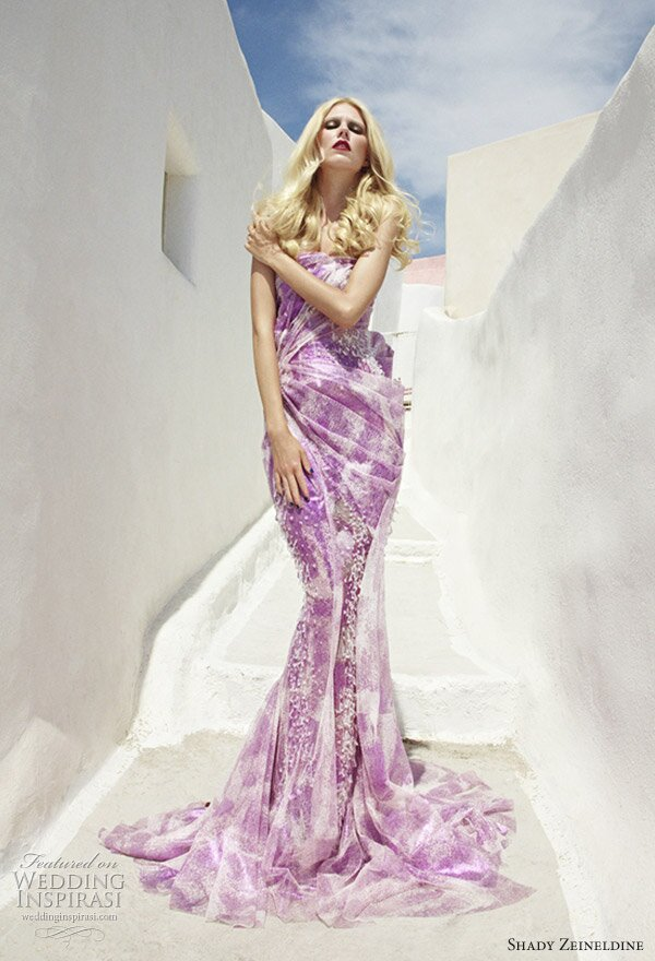 Purple and white wedding dresses Photo - 9