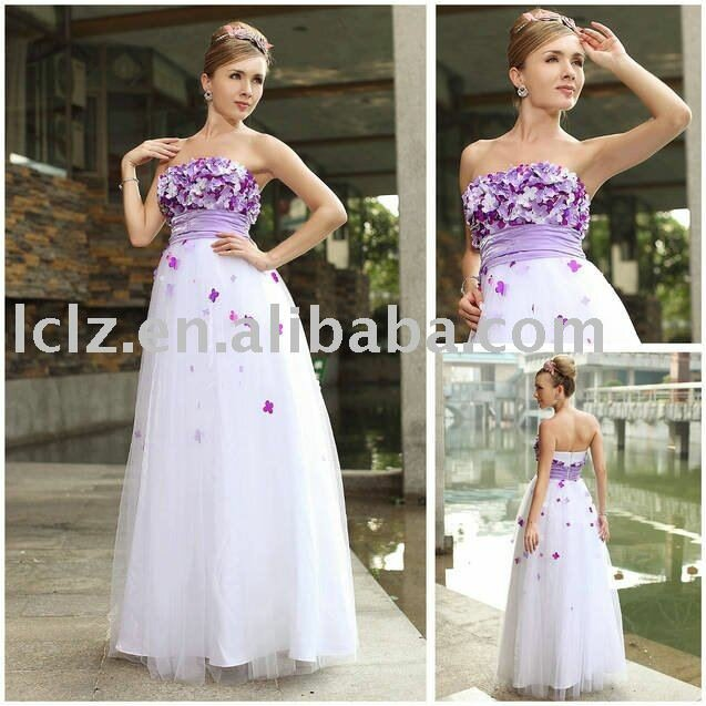 Purple and white wedding dresses Photo - 8