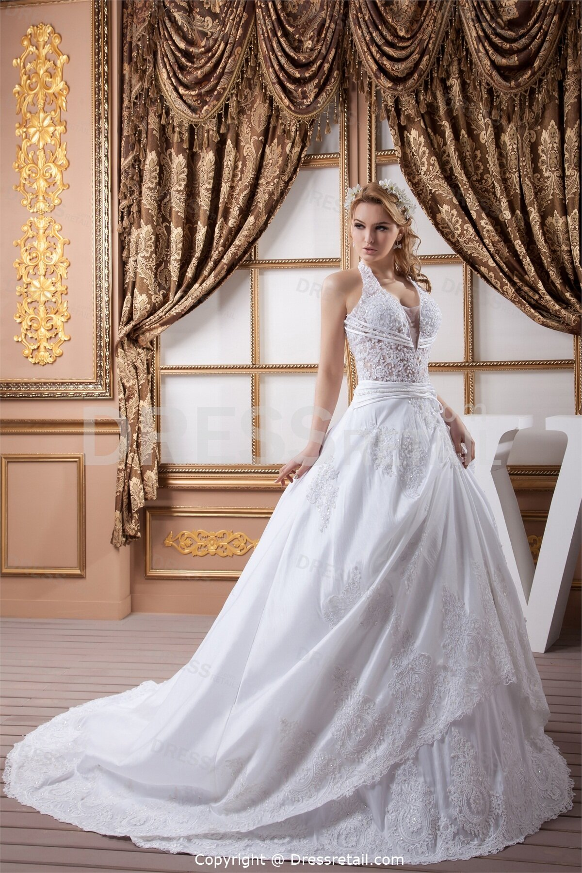 A line halter wedding dresses pictures ideas guide to for Aline halter wedding dresses