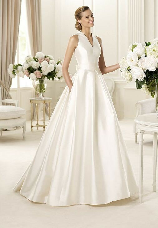 A line satin wedding dresses Photo - 9