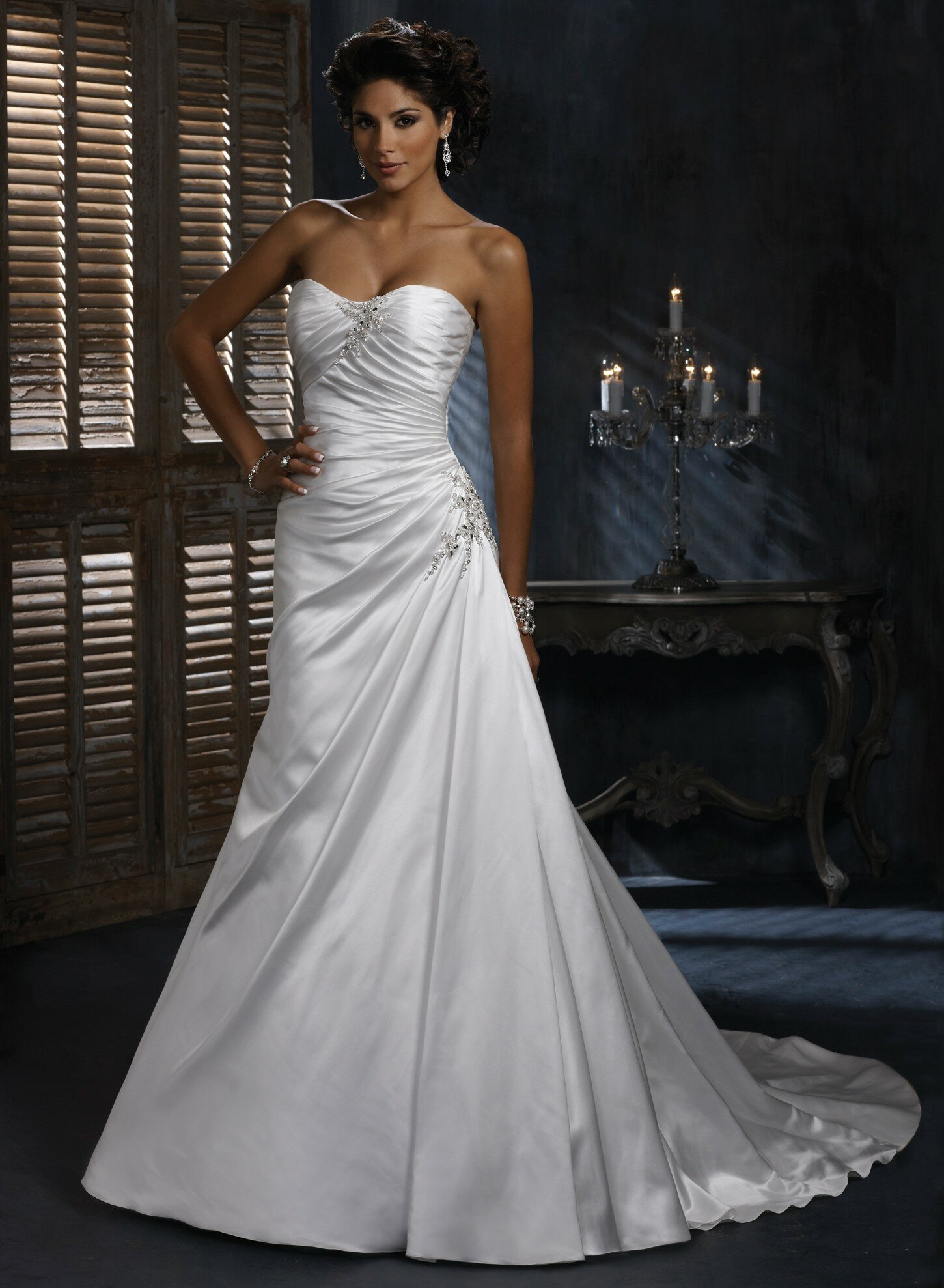 A line satin wedding dresses Photo - 4