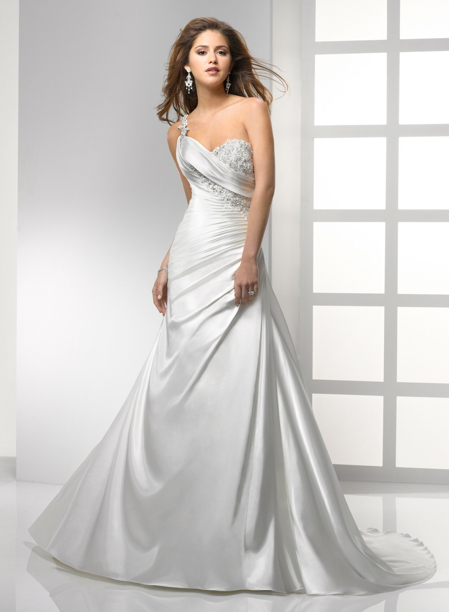 A line satin wedding dresses Photo - 5