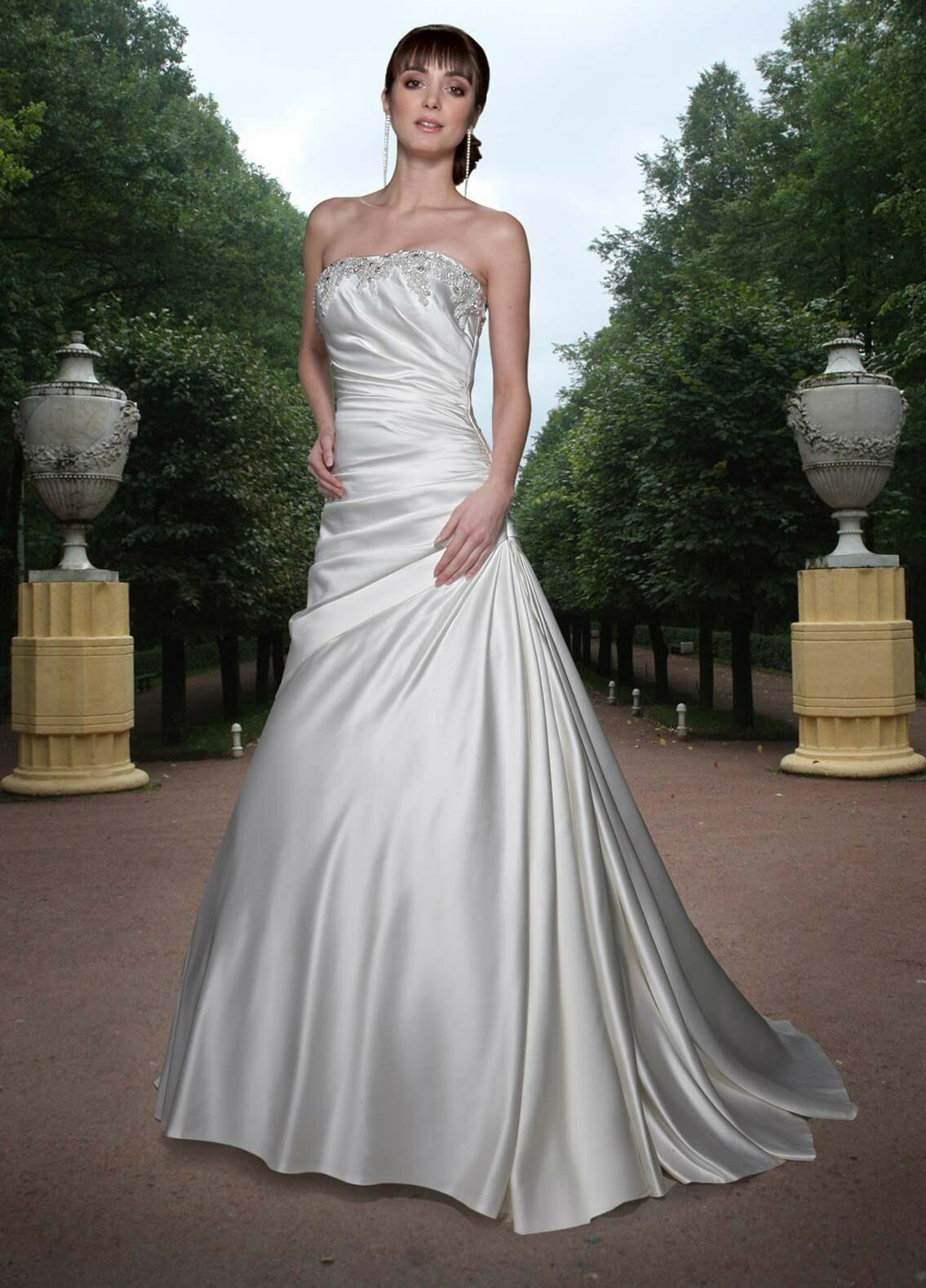 A line satin wedding dresses Photo - 6