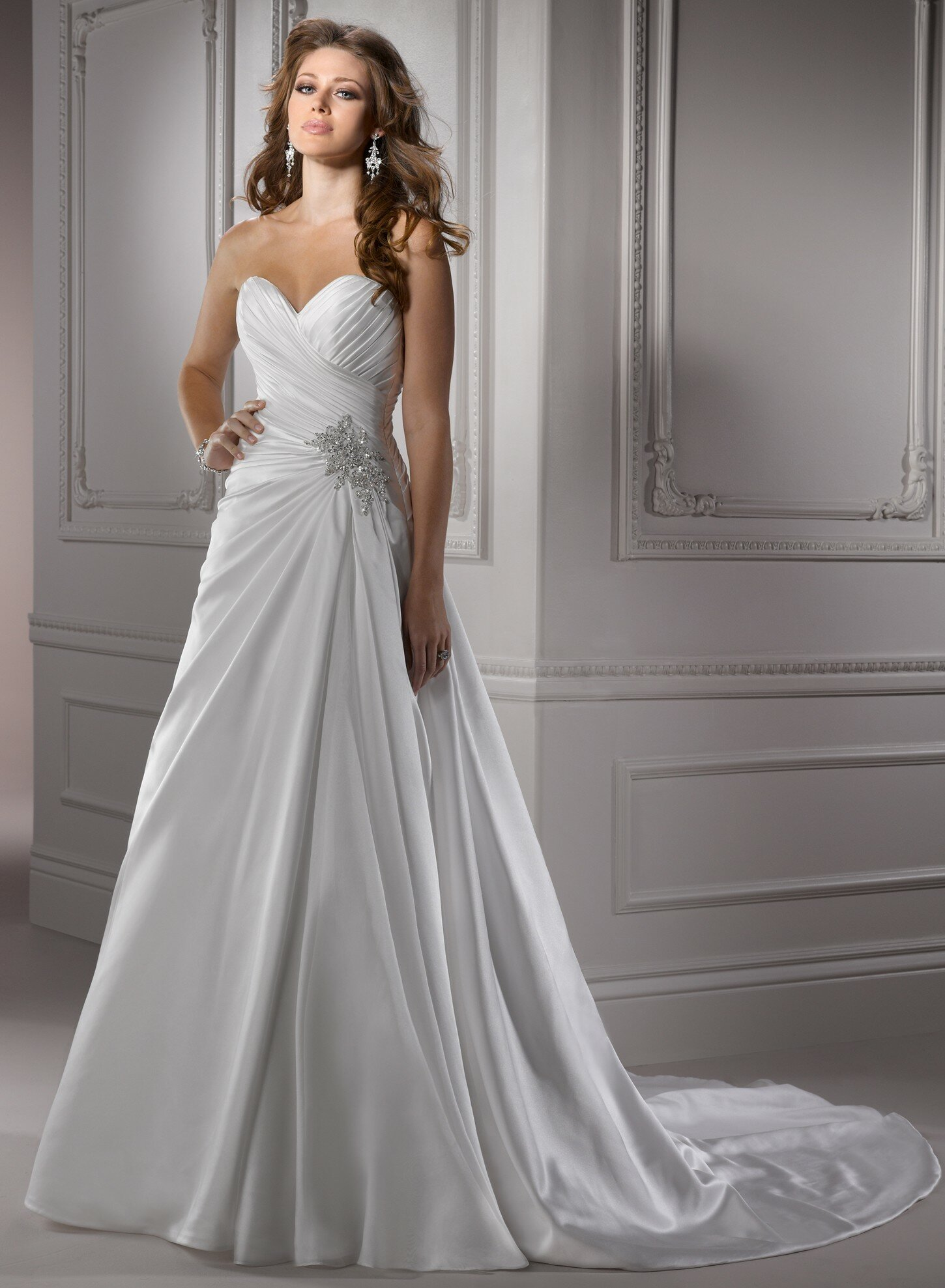 A line satin wedding dresses Photo - 7