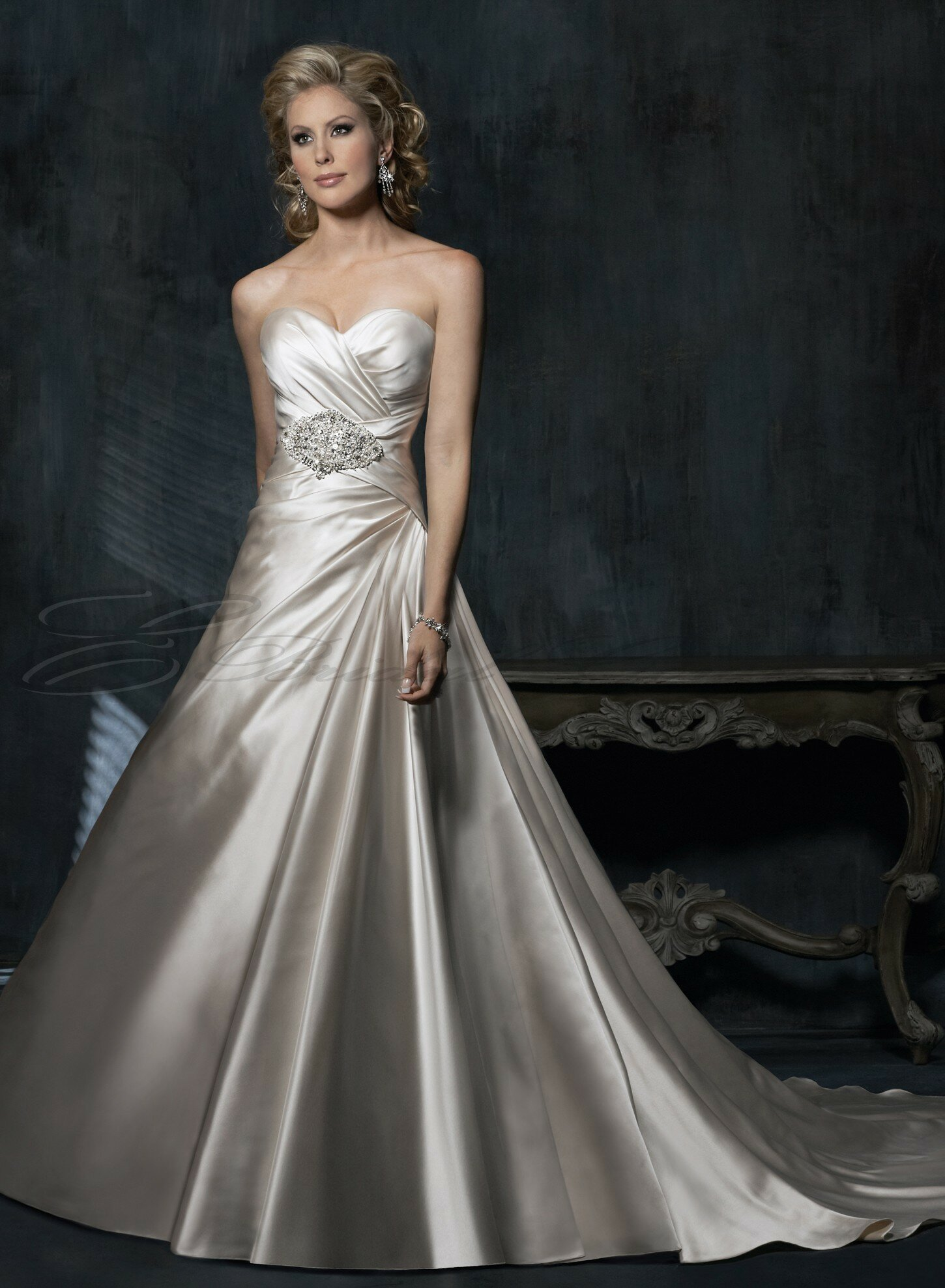 A line satin wedding dresses Photo - 8