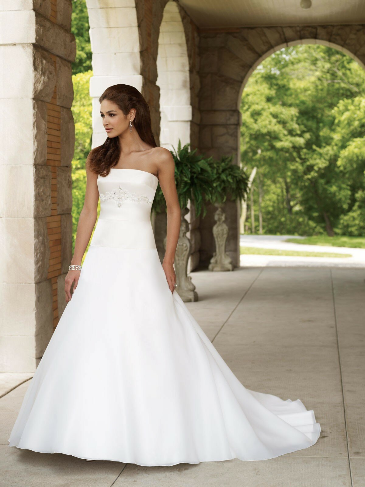 Bon A Line Strapless Wedding Dresses Photo   1