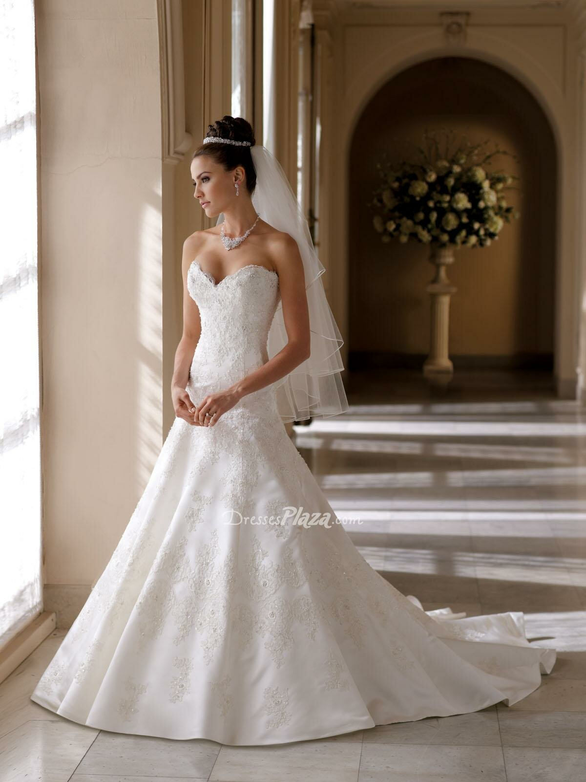 A line sweetheart lace wedding dresses Photo - 9