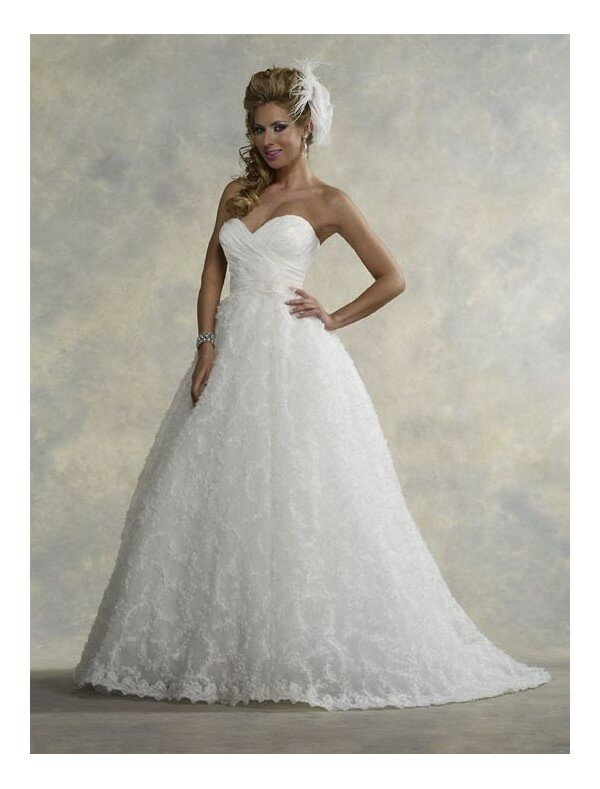 A line sweetheart lace wedding dresses Photo - 10