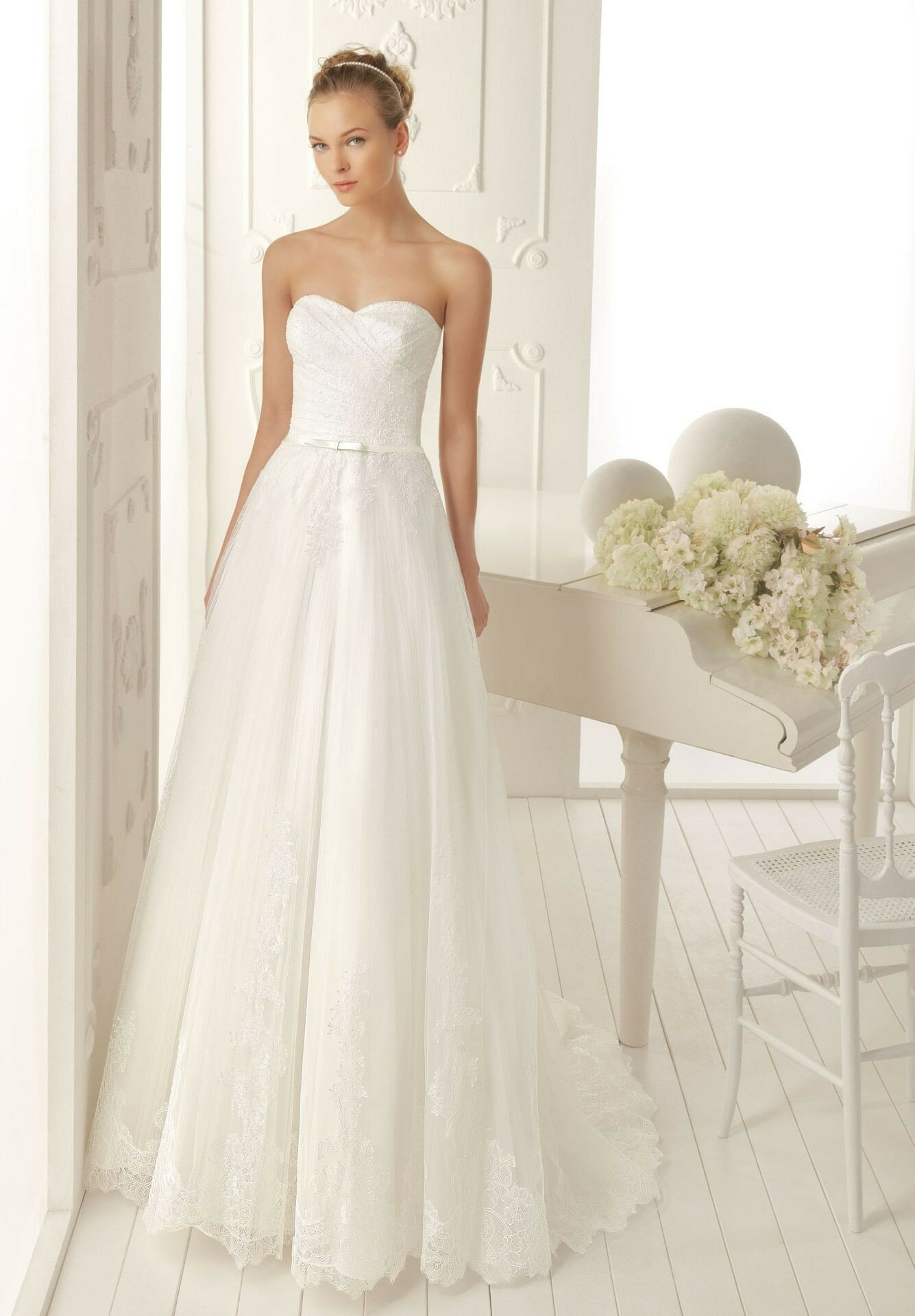 A line sweetheart lace wedding dresses Photo - 1