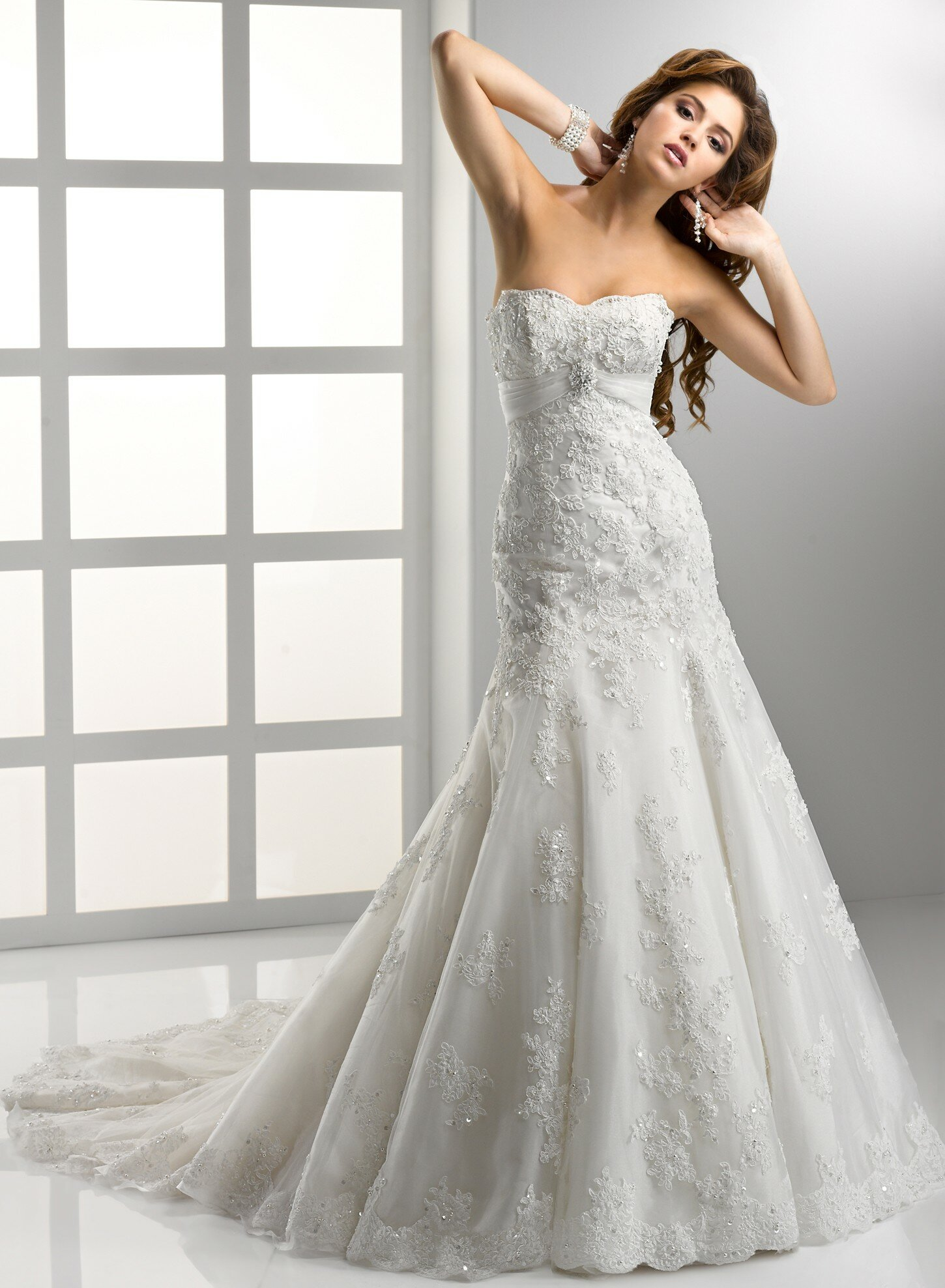 A line sweetheart lace wedding dresses Photo - 4