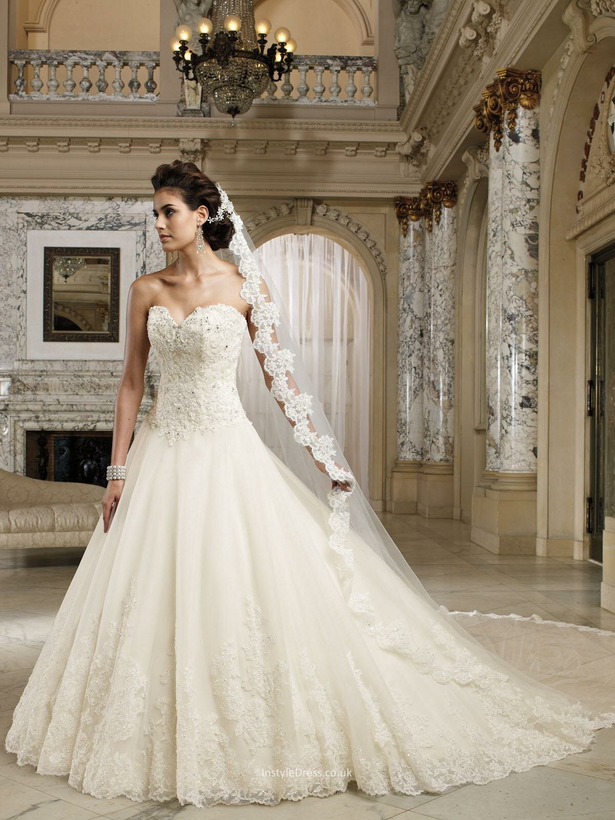 A line sweetheart lace wedding dresses Photo - 6
