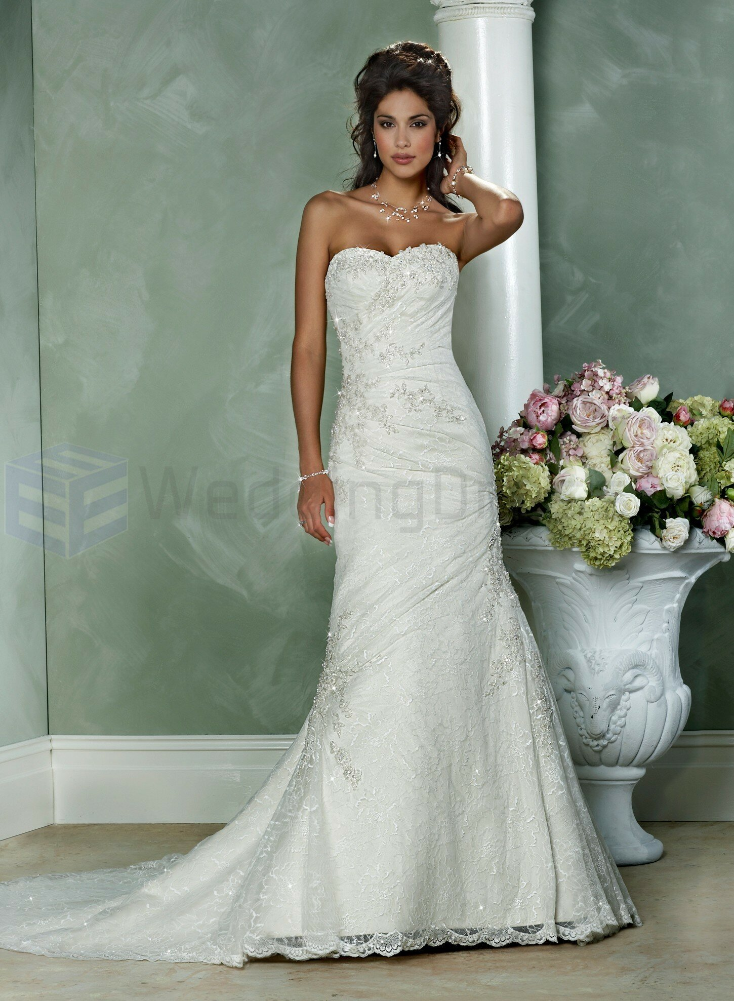 A line sweetheart lace wedding dresses Photo - 7