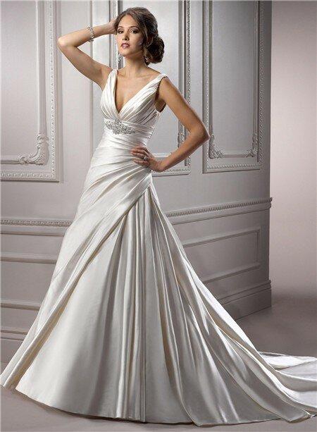 A line v neck wedding dresses  Pictures ideas 5d6c25230