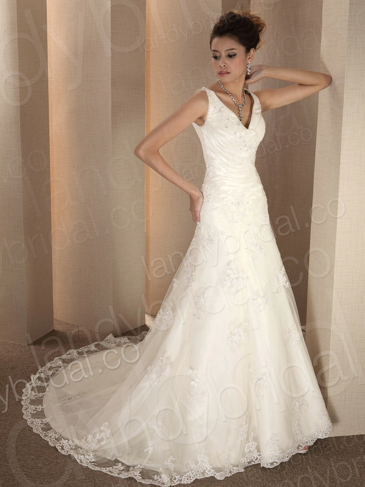 A line v neck wedding dresses pictures ideas guide to for When to buy wedding dress