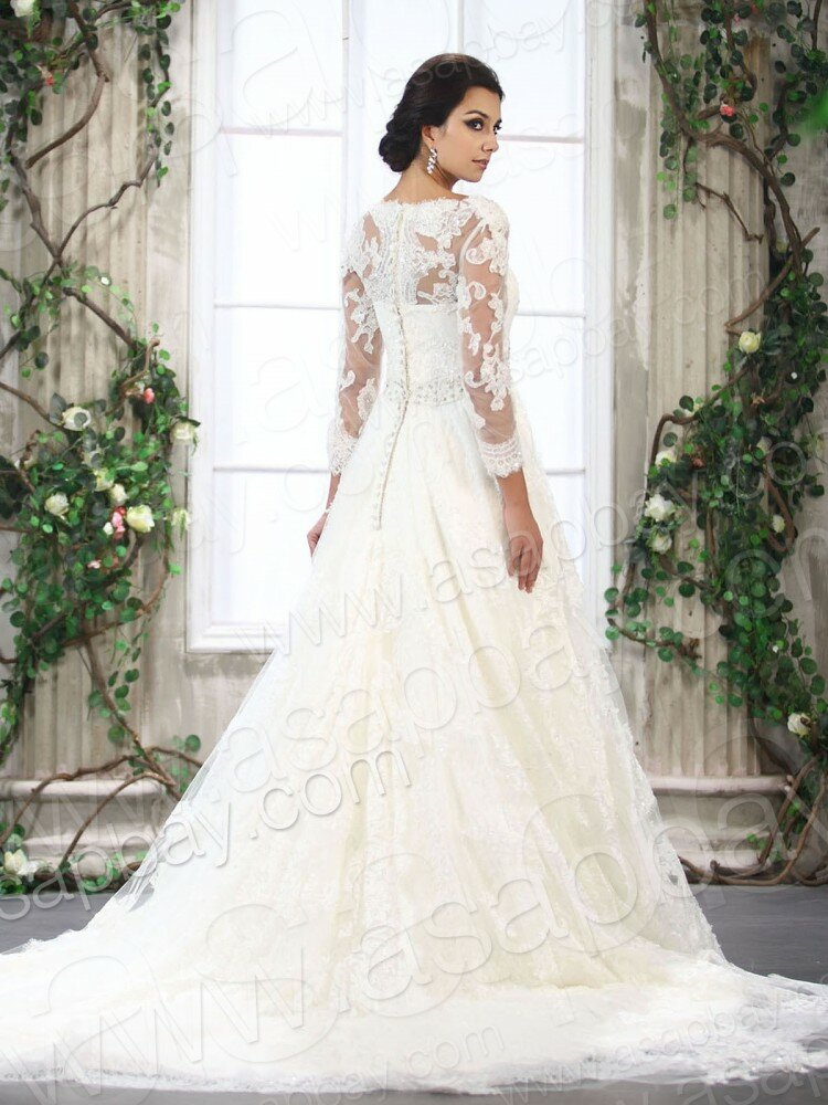 A line wedding dresses with sleeves photo 9 browse for A line wedding dress