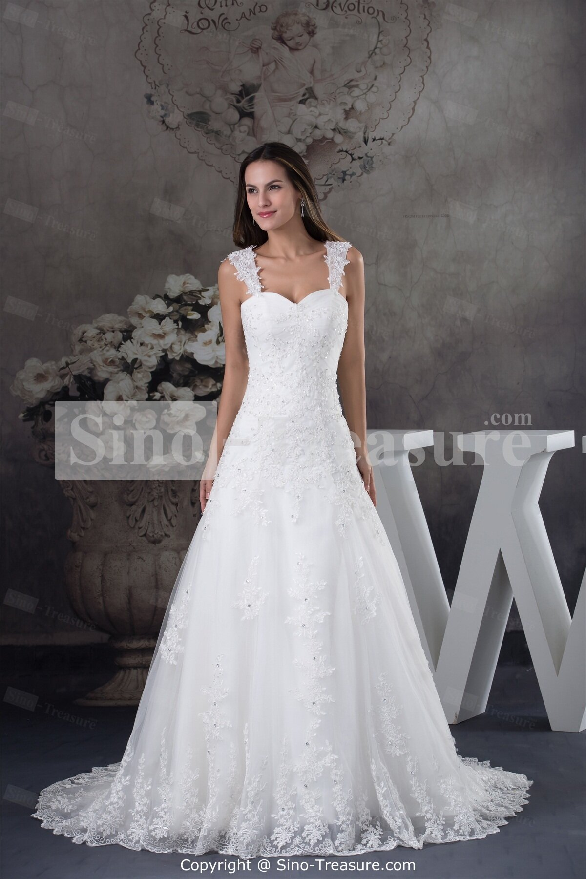 A line wedding dresses with straps pictures ideas guide for Picture of a wedding dress