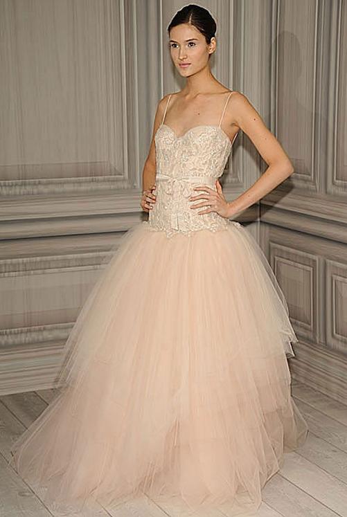 blush tulle wedding dresses