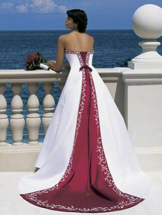Burgundy and white wedding dresses: Pictures ideas, Guide to buying ...