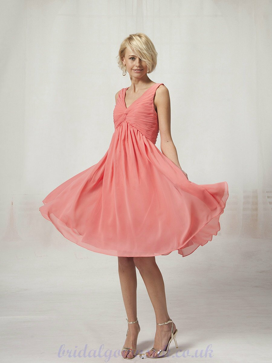 Coral dresses for weddings pictures ideas guide to for Coral bridesmaid dresses for beach wedding