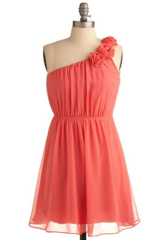 Coral dresses for weddings pictures ideas guide to for Coral wedding bridesmaid dresses