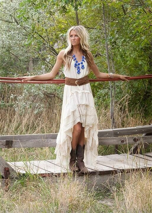Country Style Wedding Dresses With Boots Photo   1