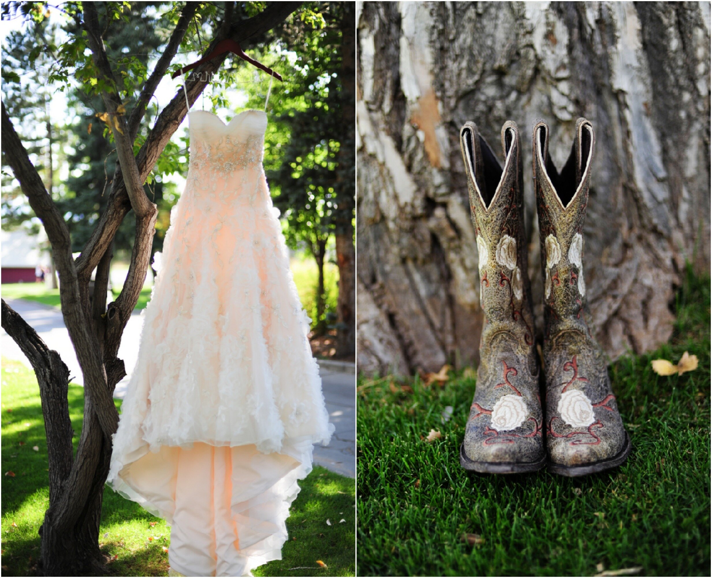 Cowboy boots wedding dresses pictures ideas guide to for Wedding dresses with cowboy boots