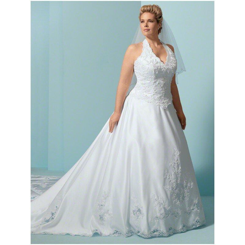 Lace top plus size wedding dress