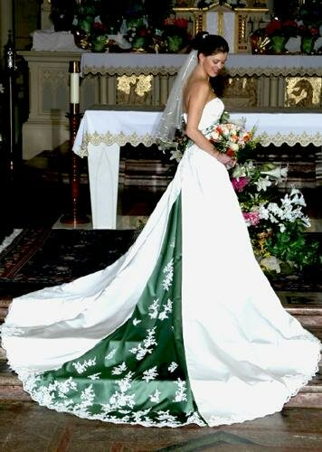 Green and white wedding dresses pictures ideas guide to for White green wedding dress