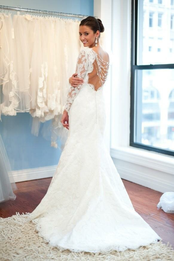 Lace wedding dresses with sleeves and open back: Pictures ideas ...