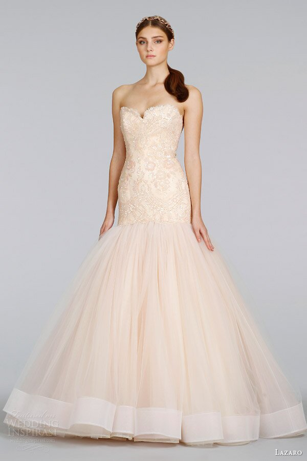 Blush Wedding Dress 1402 : Lazaro blush wedding dresses pictures ideas guide to buying