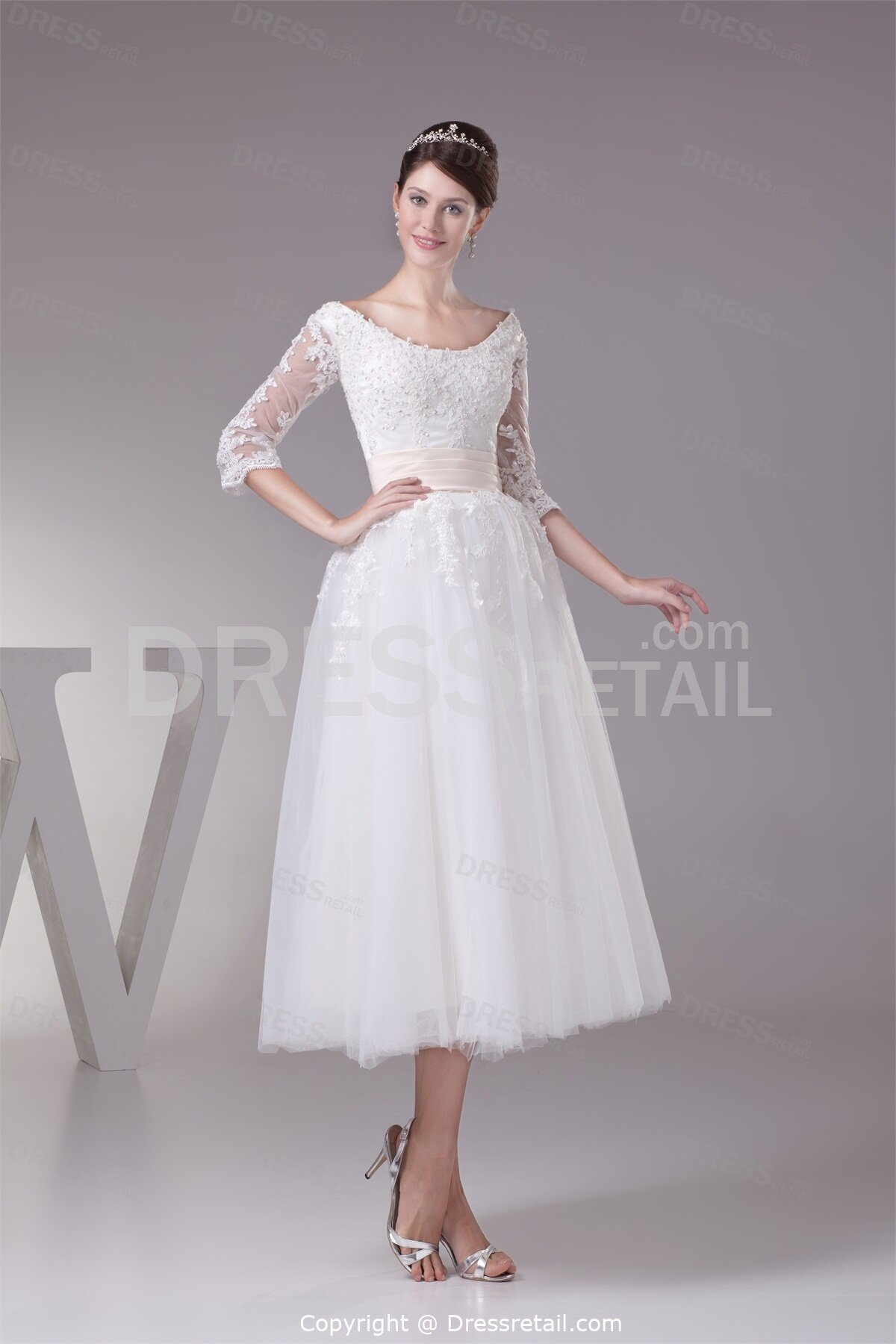 Simple tea length wedding dresses with sleeves: Pictures ideas ...
