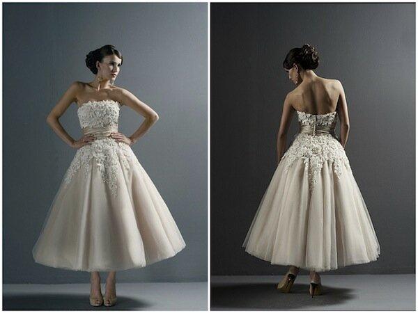 Vintage wedding dresses tea length Photo - 4