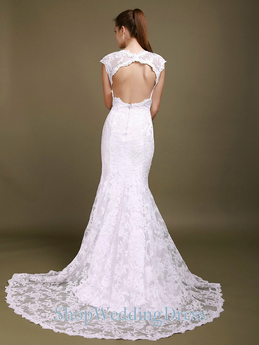 Wedding dresses with lace cap sleeves Photo - 1
