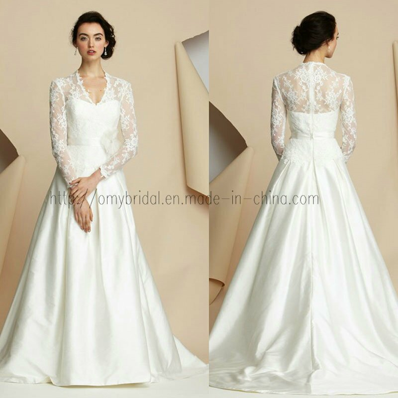 Wedding dresses with lace sleeves and open back Photo - 3