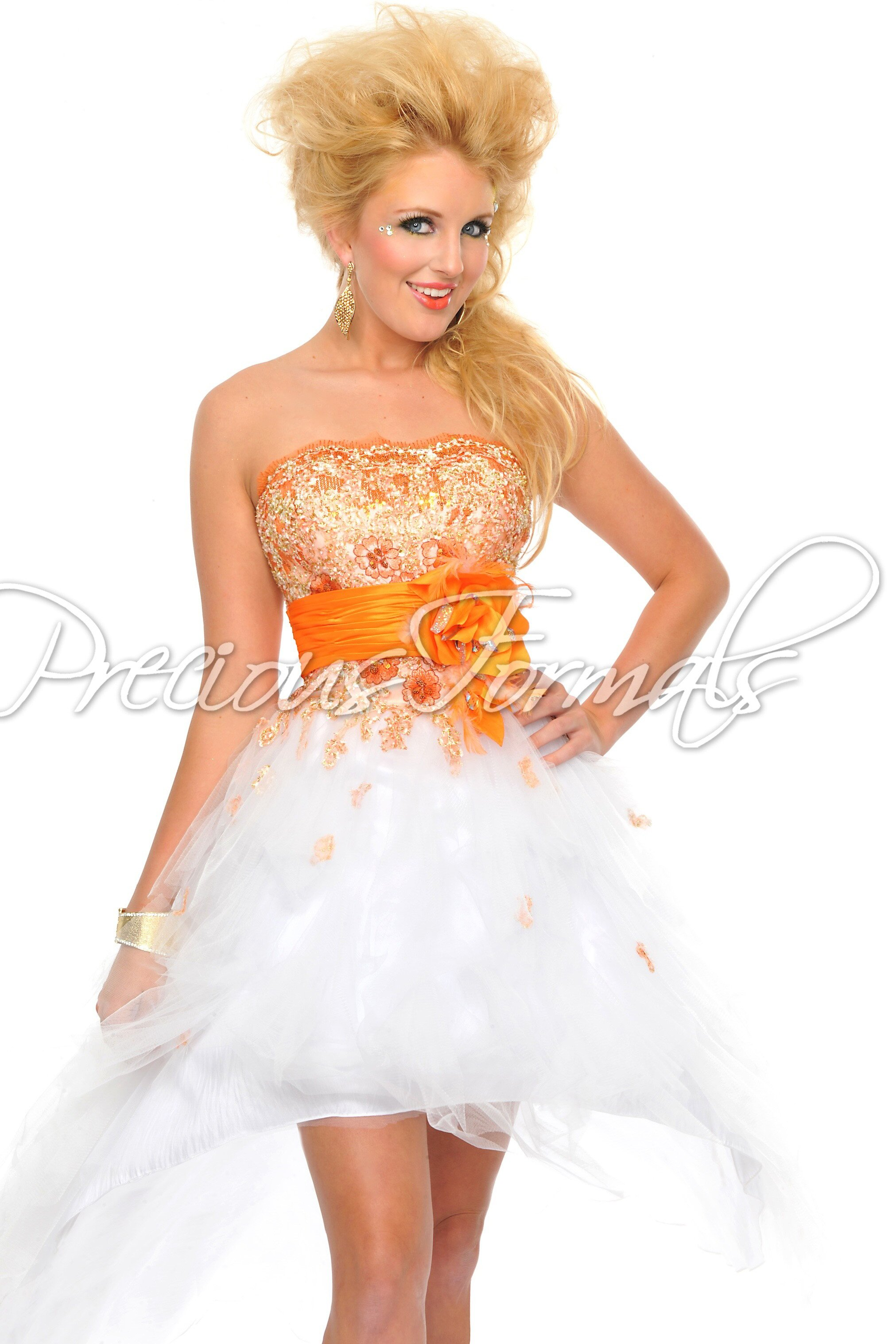 orange and white wedding dress the