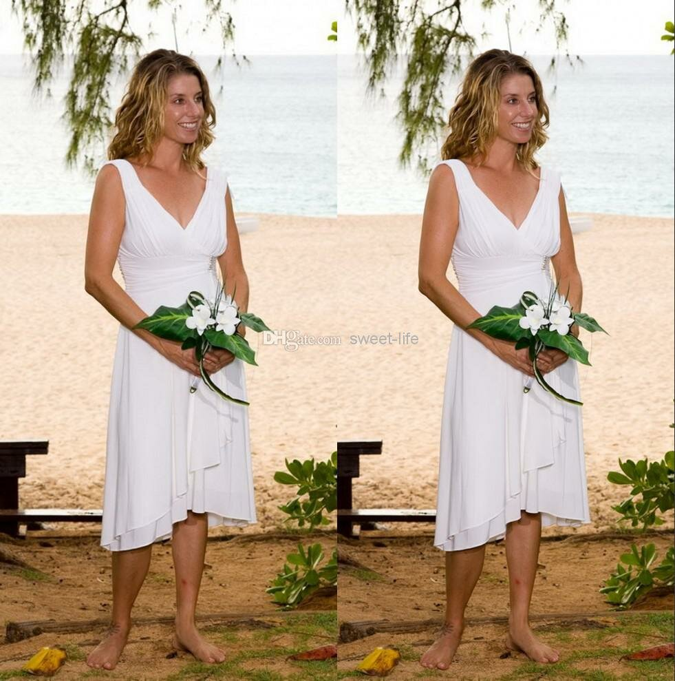 White Bridesmaid Dresses Beach Wedding Photo   5