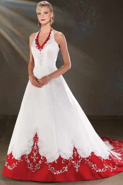 White Wedding Dresses With Red Accents Photo 1