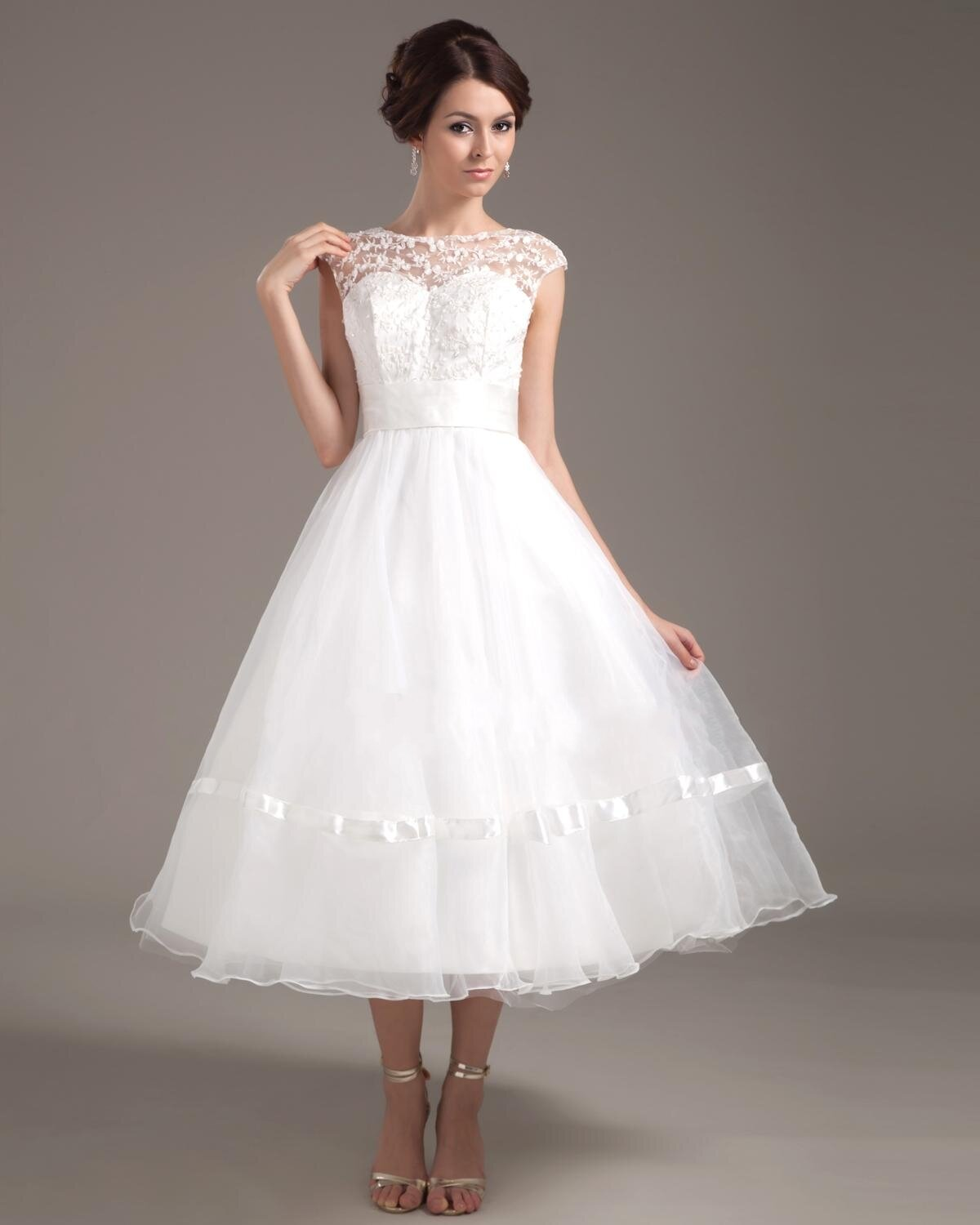 e26de3a66b7 Tea Length Casual Wedding Dresses With Sleeves