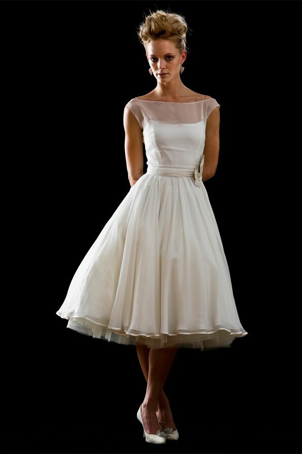 Vintage wedding dresses tea length photo - 1