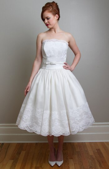 Vintage wedding dresses tea length photo - 4