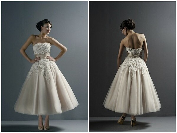 Vintage wedding dresses tea length photo - 5