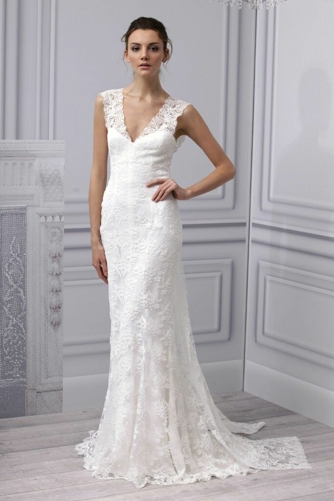 simple lace wedding dress photo - 6